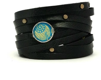 Bandit Cuff with turquoise Shi piece, and antique brass studs.