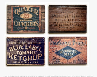 Wood Signs: Rustic Kitchen Decor, Wood Panel Kitchen Set, Vintage Crates, Ready to Hang Kitchen Wall Art, Planked Wood Rustic Kitchen Art.