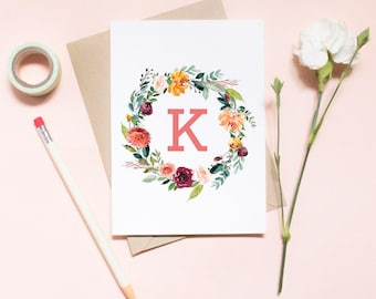 Monogram card, Customized Will You Be My Bridesmaid Card, Maid of honor proposal card, will you be my bridesmaid card / SKU: LNBM26