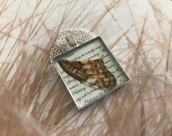 """Meadow Fritillary Butterfly Wing Pendant with 20"""" Sterling Silver Chain"""