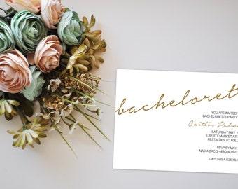 Minimalist Glitter Bachelorette Party Invitation, Glitter Invitation, Glitter Bridal Shower, Printable Invitation