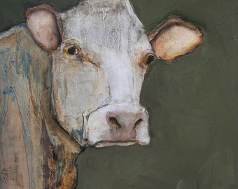 COW  ART- Giclee print from my original oil painting - Folk Art