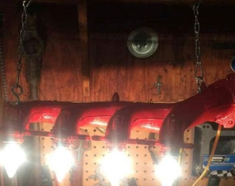 Custom Exhaust Manifold Shop/Garage Lights - Red or Charcoal Gray