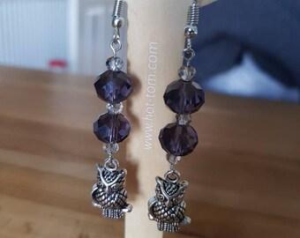 Purple glass bead owl dangle earrings