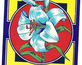 Lily Vintage Broom Label, 1940's