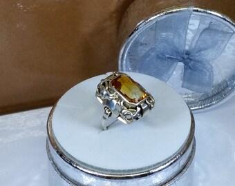 16.2 mm Art Deco ring silver 935 citrine old SR758