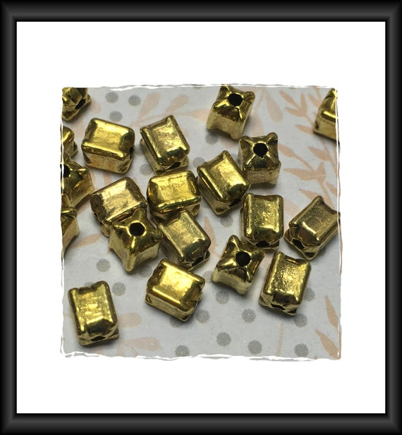 Bright Gold Finish Rectangle Beads 6 x 4 mm - 13 beads