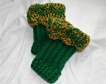 Crocheted Green and Gold Scalloped Boot Cuffs