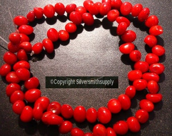 "8x5mm Oxblood Red Branch Mediteranean color Bamboo coral (dyed) beads 15"" BS027"