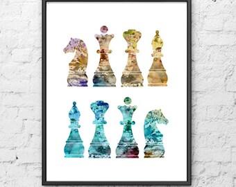 Chess art, chess print, chess figures,  chess illustration, living room decor, sport poster - 20