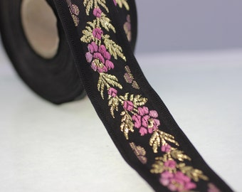 26 mm Black Front Pink Floral Jacquard ribbon (1.02 inches) - Jacquard trim - Balkans Decorative Ribbon - Sewing Trim - Collar Trim