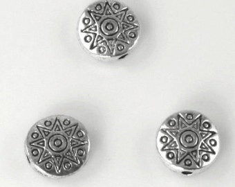Star Disk Pewter Spacer Beads - Lead Safe Pewter Round Bead - Antique Silver - 11x4mm - 24 pieces  (PWT1692S) adorabellabeads
