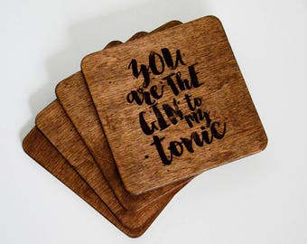 Personalized coaster set Custom wood coaster set Engraved coasters Gin coaster set Wood engraved coaster set