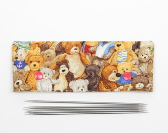 "Teddy bear DPN holder for 15cm / 6"" knitting needles, DPN cozy with toys, cute knitting needle holder"