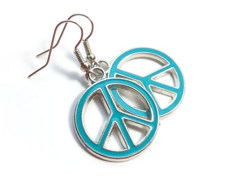 Teal Peace Sign Dangle Earrings