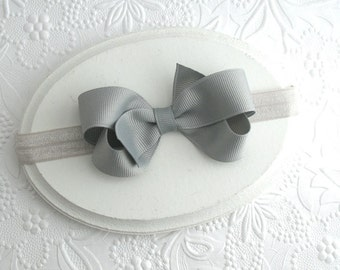 "Silver Grey Baby Bow Headband, 3"" Grey Boutique Bow Headband for Infant Baby Girls"