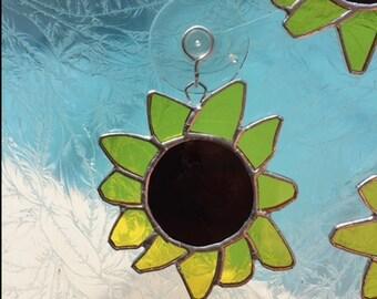 Sunflower stained glass sun catcher