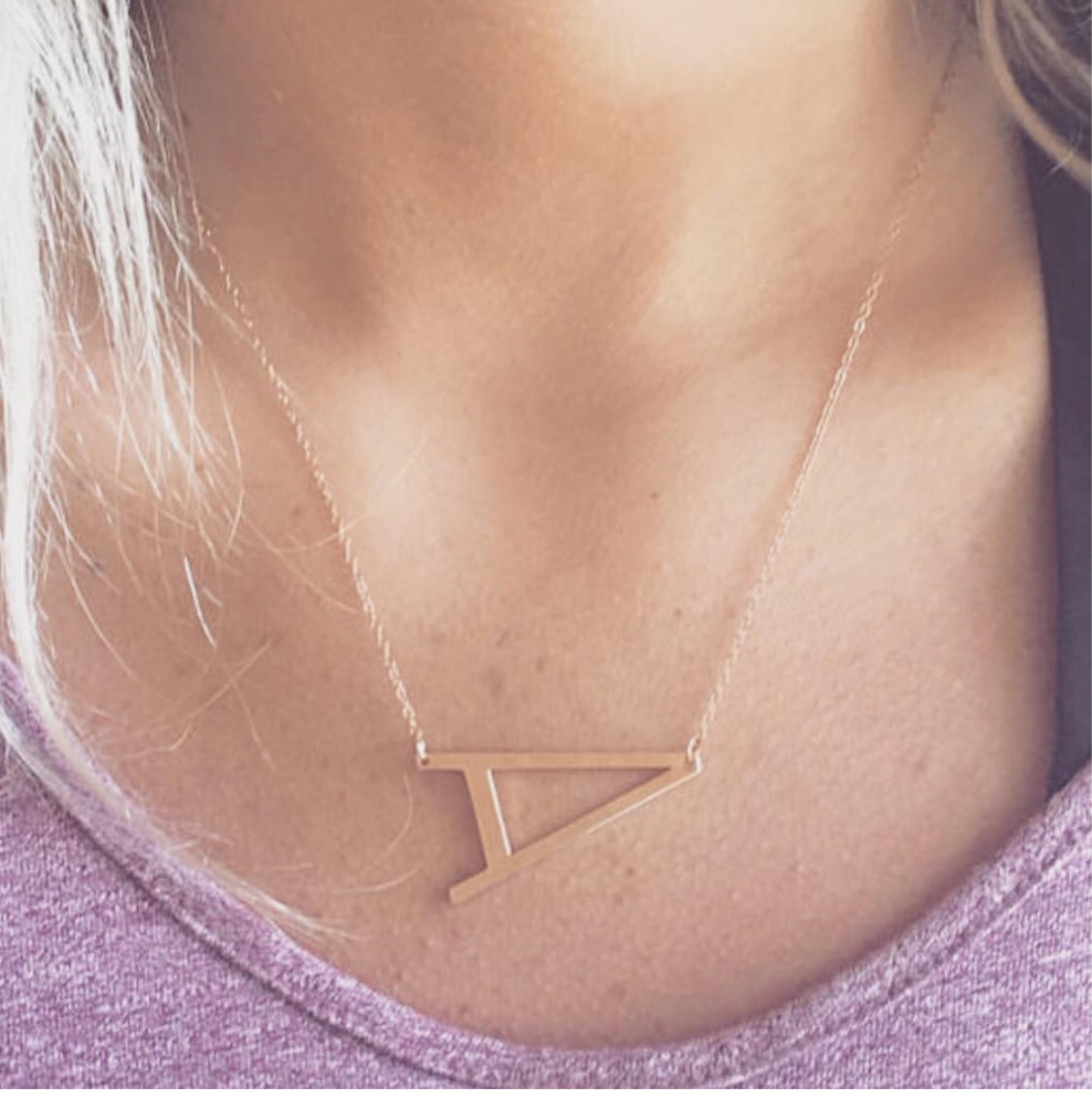 Rose Gold Sideways Initial Necklace Large Initial Necklace