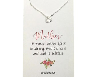 Mom Gift, silver or gold tiny heart frame necklace, tiny floating open heart necklace with card quote, Mother's Day, mother in Law, stepmom