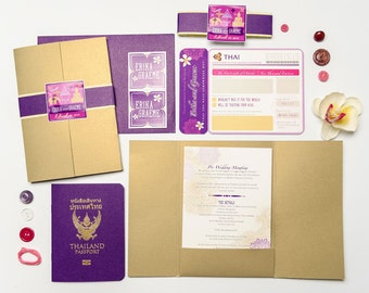 BING Thailand Passport and Boarding Pass/ Airline Ticket Destination Wedding Invitation