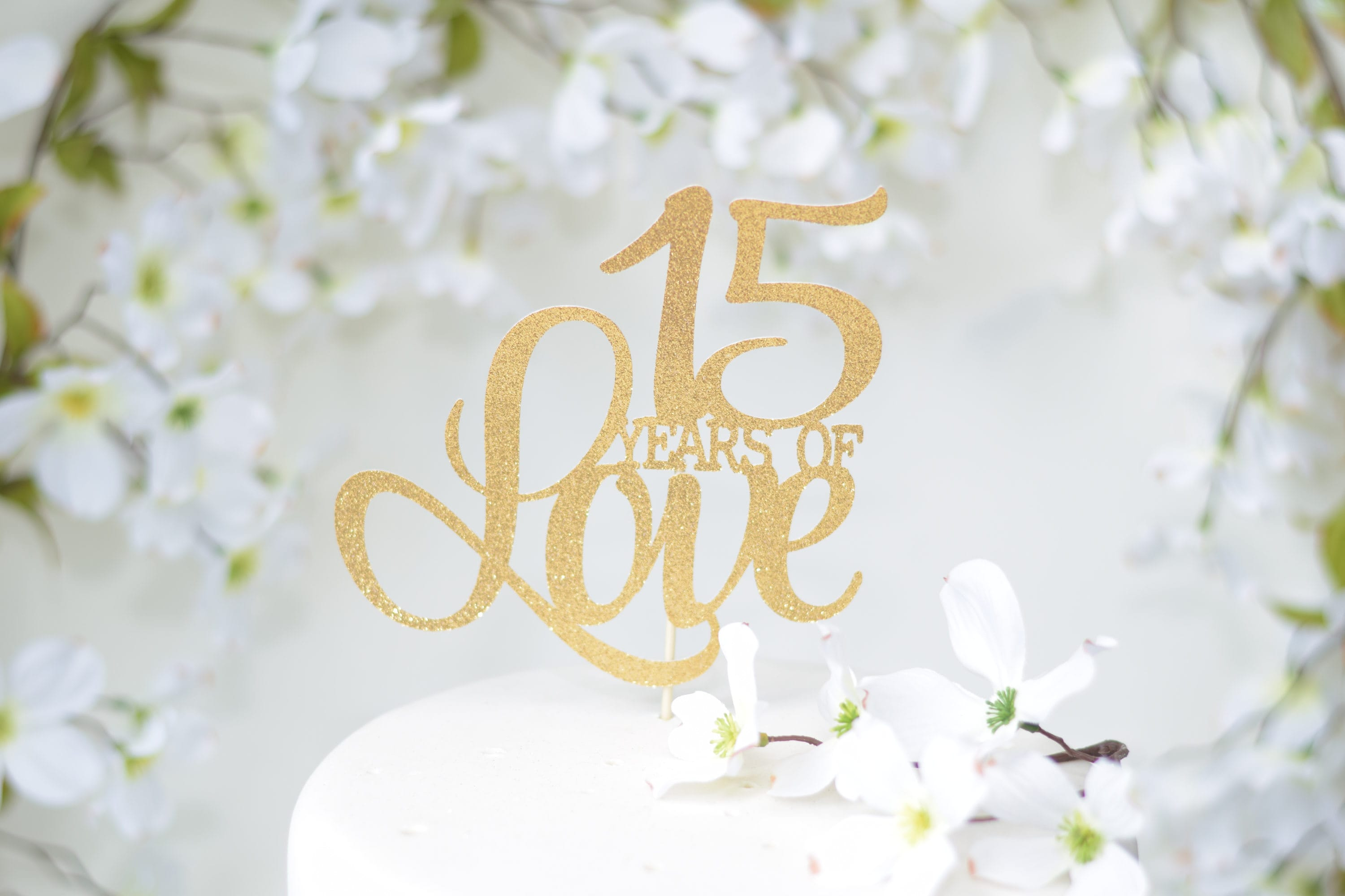 What Is The 15th Wedding Anniversary Gift: 15th Wedding Anniversary Cake Topper 15th Anniversary Vow