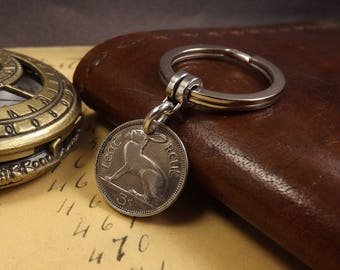 Genuine 1966 Small Irish 3 Pence Keychain Coin Gift Pagan Hare Rabbit 52nd Birthday Gift.  Boxed