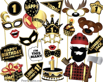 Lumberjack First Birthday Photo Booth Props, 1st Birthday Photo Booth Props, 1st Birthday Girl Boy Photo Props, Black Gold Printable PDF