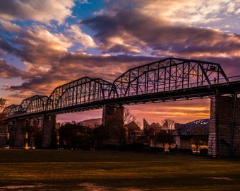 Walnut Street Bridge at Sunset - Canvas Print
