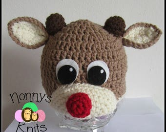 Baby Rudolf hat. All sizes available! Made to Order only!