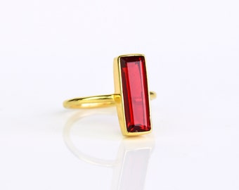 Garnet Bar Ring, January Birthstone Ring, Geometric Ring Modern Ring, Gemstone Bar Ring, Vertical Bar Ring January Birthday gift, Adira Ring