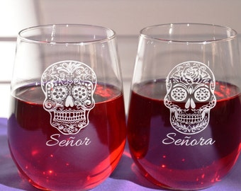 2 Personalized Engraved Sugar Skull Celebration Glasses for Dia de los Muertos, Day of the Dead, Cinco de Mayo, Wedding/Anniversary