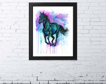 HORSE PRINT | Horse Painting | Horse Art | Horse Watercolor | Horse Lover | Equine Art | Colorful Horse | Horse Wall Decor | Christmas Gift