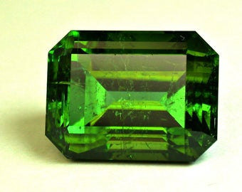 Vintage TOURMALINE Afghan Blue Green Faceted Gemstone Emerald Cut 16.95 cts fg231