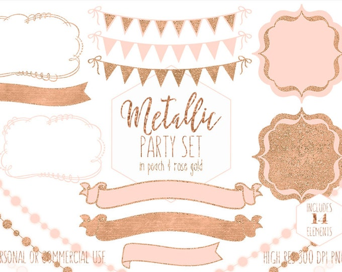 PEACH & ROSE GOLD Party Clipart Commercial Use Planner Clip Art Glitter Bunting Banners Frames Birthday Baby Shower Wedding Digital Graphics