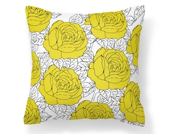 Yellow Roses Pillow Cover - Flower Pillow Cover - Roses Pillow - 18x18 inch pillow - 20x20 inch pillow - Decorative Pillow Cover