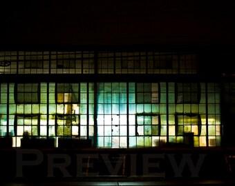 Illuminated Walls. Dilapidated Factory Windows