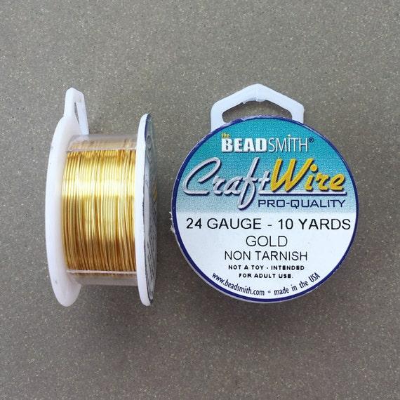 24 gauge Gold Plated Craft Wire >> 10 yards, 24 GA, Non-Tarnish Gold ...