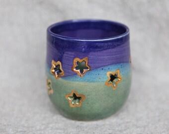 Stoneware Luminary Lantern with Gold Stars in Green, Blue and Purple Glazes