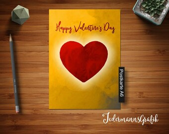 Modern postcard Happy Valentines Day-yellow Red-February 14th-Valentine-Day download