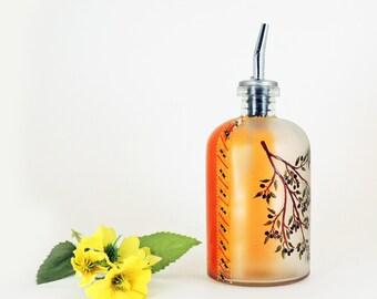 Olive branch painted oil bottle - Hand painted glass dispenser for oil, vinegar, soap or detergent