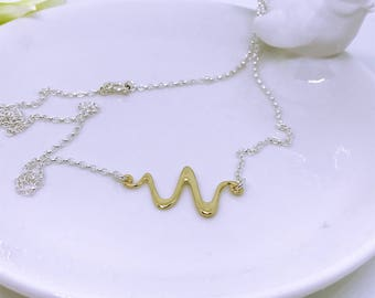 Sterling silver Gold squiggle necklace, sterling silver necklace, gold on silver necklace, 24k on silver necklace, squiggle necklace, gold.