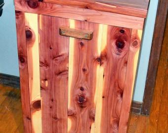 Tilt Out Trash Bin, Cedar Trash Bin Cabinet, Wood Trash Bin, Wood Hamper,  Pet Food Container