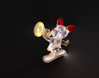 Vintage Mouse Toy, Lucite Carnival Prize Toy, Trumpet and Mouse Toy, 1950's Toy Game Prize, Crystal Plastic Mouse with Trumpet Fair Toy