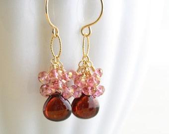 Garnet Dangle Earrings, Pink Cluster Earrings, January Birthstone, Handmade