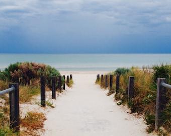 Ocean photo print, sandy beach photo, ocean beach print, blue photography, wall decor, beach photography, fine art photography