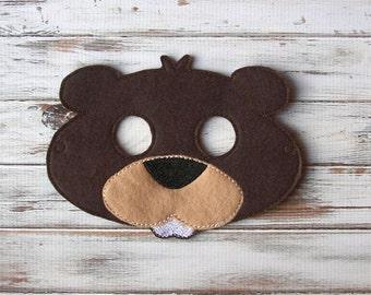 Beaver Mask - Woodland Animal, Felt Mask - Imaginative Play, Dress Up - Halloween, Costume