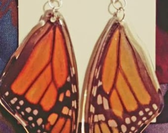 Monarch butterfly earrings made with real wings