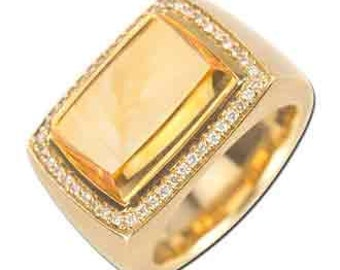 7.96 Carat Diamond Citrine 14K Yellow Gold Gemstone Rings