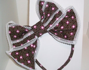 Kawaii Brown, Pink, and White, Japanese Lolita Style Hair Bow, slightly angled