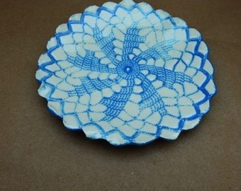 Ring Dish, Trinket Dish,  Jewellery Holder, Wedding Ring Dish, Bathroom Decor, Embossed, Blue And White, Handmade Pottery, Ceramic